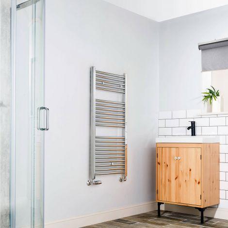 Premium Chrome Straight Ladder Heated Towel Rail - 1200mm x 500mm