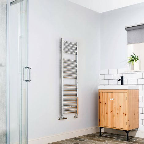 Chrome Straight Ladder Slim Space Saving Heated Towel Rail 1200mm high x 400mm wide