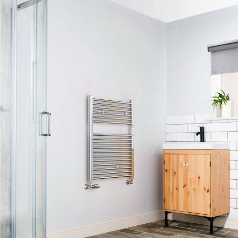 Chrome Straight Ladder Short Heated Towel Rail 800mm high x 600mm wide