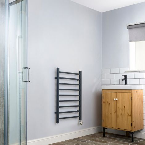 Cube Anthracite Thermostatic Electric Towel Rail - 800mm high x 500mm wide