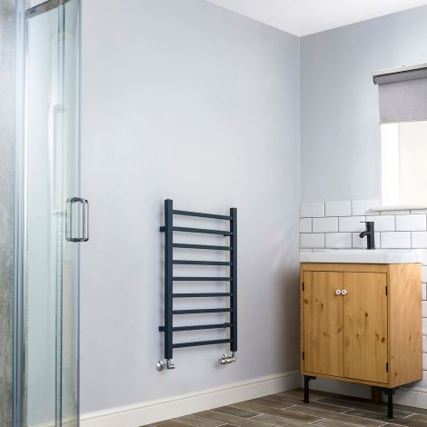 Cube Anthracite Ladder Heated Towel Rail - 800mm high x 500mm wide
