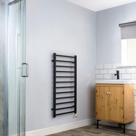 Cube Black Dynamic Ladder Heated Towel Rail - 1000mm high x 500mm wide