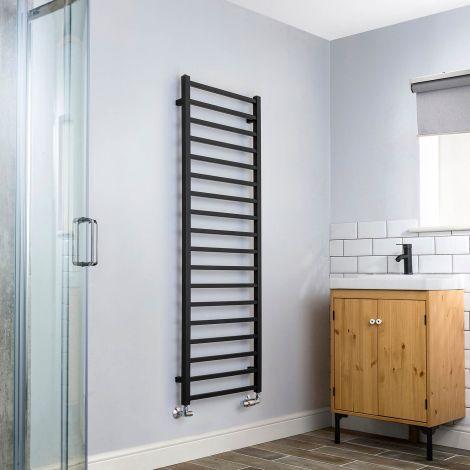 Cube Black Square Bars Tall Ladder Heated Towel Rail - 1500mm high x 500mm wide