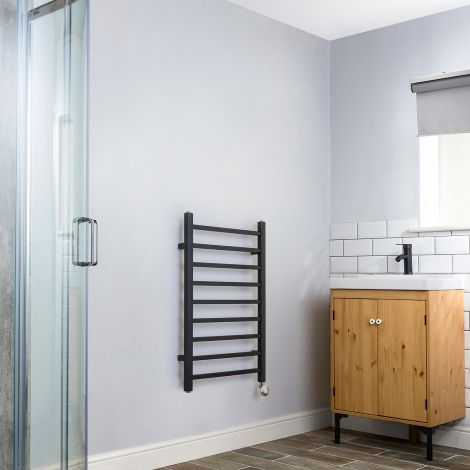 Cube Black Square Bars Short Ladder Thermostatic Electric Towel Rail - 800mm high x 500mm wide