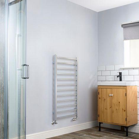 Cube Chrome Square Bars Ladder Heated Towel Rail - 1000mm high x 500mm wide