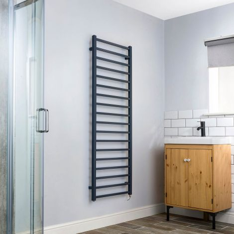 Cube Dark Grey Square Bars Ladder Tall Electric Towel Rail - 1500mm high x 500mm wide
