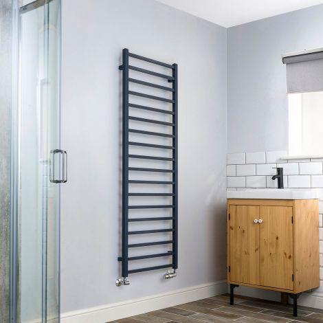 Cube Dark Grey Square Bars Tall Ladder Heated Towel Rail - 1500mm high x 500mm wide