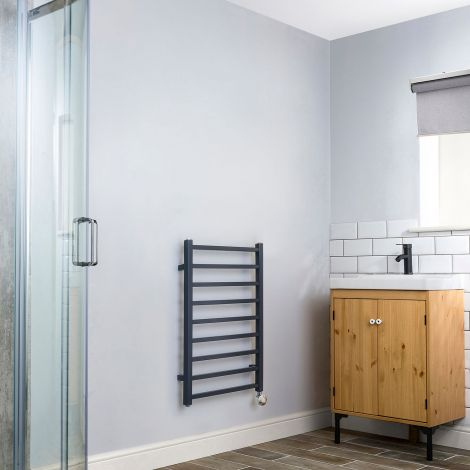 Cube Dark Grey Square Bars Short Ladder Thermostatic Electric Towel Rail - 800mm high x 500mm wide