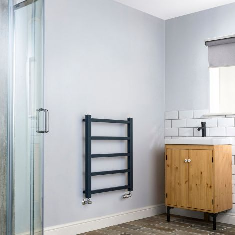 Cube PLUS Anthracite Ladder Heated Towel Rail - 750mm high x 600mm wide