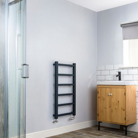 Cube PLUS Anthracite Heated Towel Rail - 900mm high x 450mm wide