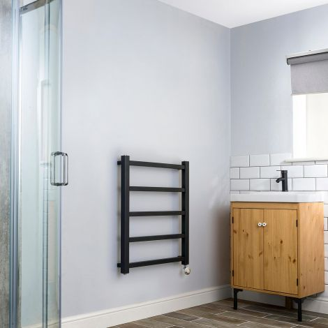 Cube PLUS Black Thermostatic Electric Towel Rail - 750mm high x 600mm wide