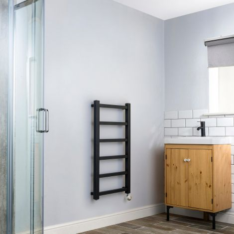 Cube PLUS Black Thermostatic Electric Towel Rail - 900mm high x 450mm wide