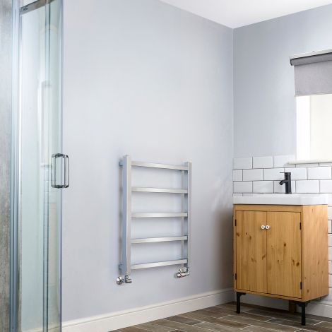 Cube PLUS Chrome Square Bars Space Saving Heated Towel Rail - 750mm high x 600mm wid