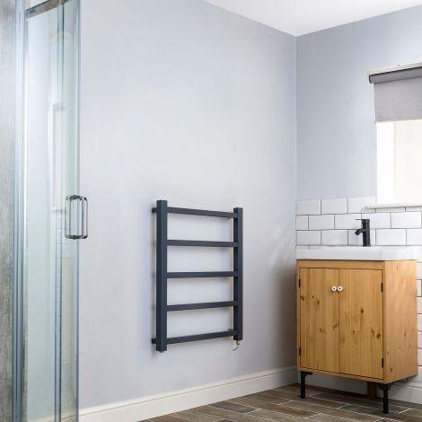 Cube PLUS Dark Grey Electric Towel Rail - 750mm high x 600mm wide