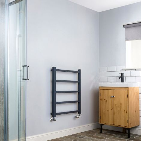 Cube PLUS Dark Grey Heated Towel Rail - 750mm x 600mm