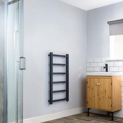 Cube PLUS Dark Grey Electric Towel Rail - 900mm high x 450mm wide