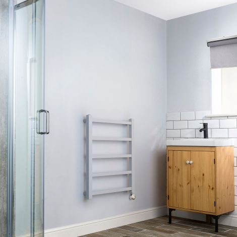 Cube PLUS Light Grey Square Bars Space Saving Thermostatic Electric Towel Rail - 750mm high x 600mm wide