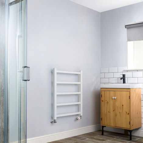 Cube PLUS White Square Bars Heated Towel Rail - 750mm high x 600mm wide,Thumbnail Image,Small Image,Thumbnail Image