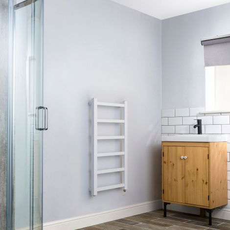 Cube PLUS White Square Bars Slim Electric Towel Rail - 900mm high x 450mm wide