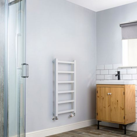 Cube PLUS White Square Bars Slim Heated Towel Rail - 900mm high x 450mm wide,Thumbnail Image,Small Image,Thumbnail Image