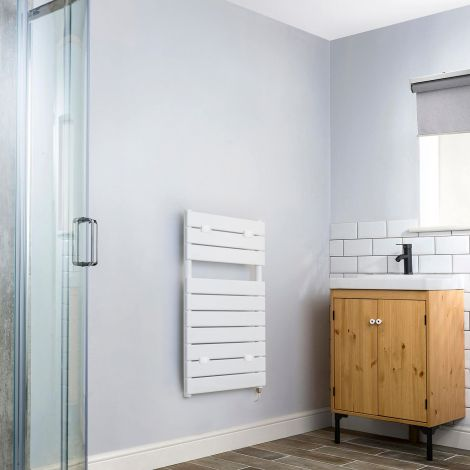 Lazzarini Palermo White Electric Towel Rail - 820mm x 500mm