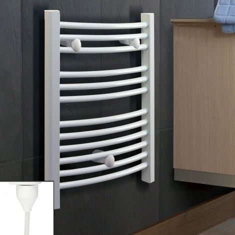 White Electric Slim Curved Ladder Towel Rail 800mm high x 400mm wide