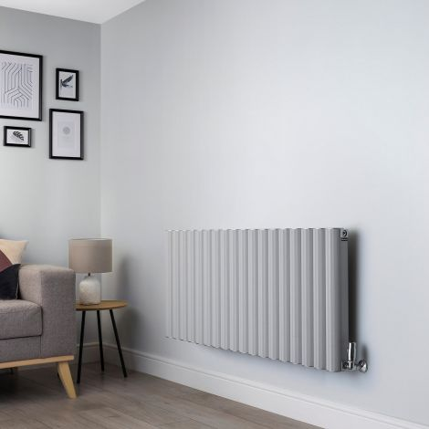 Venn Light Grey Horizontal High Output Designer Radiator - 600mm high x 1440mm wide