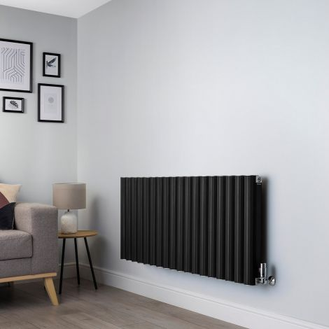 Venn Black Horizontal High Output Designer Radiator - 600mm high x 1440mm wide