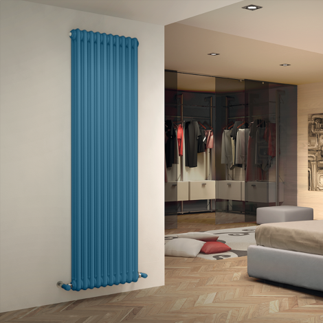 Bespoke Gloss Pastel Blue Traditional 3 Column Radiators - Multiple Sizes
