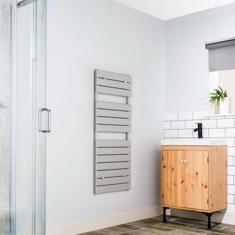 Lazzarini Palermo Grey Designer Heated Towel Rail 1200mm high x 500mm wide