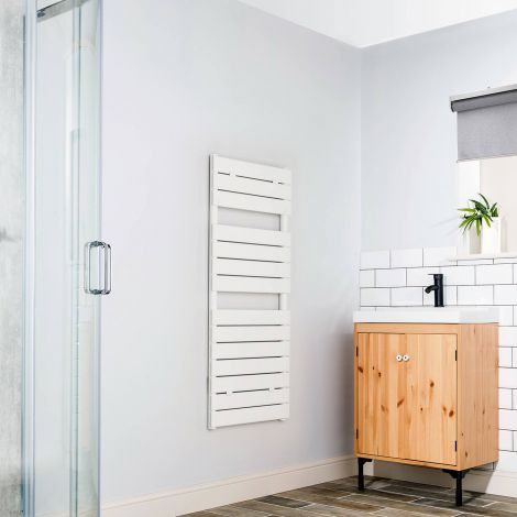 Lazzarini Palermo White Designer Heated Towel Rail 1200mm high x 500mm wide