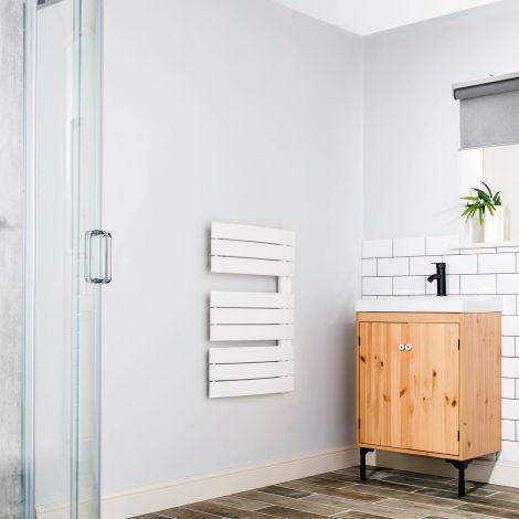 Lazzarini Pieve White Designer Heated Towel Rail 780mm high x 550mm wide