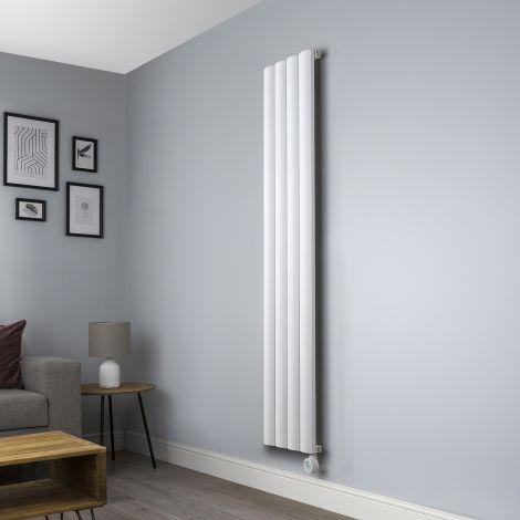 Aero White Ecodesign Vertical Skinny Electric Radiator - 1800mm high x 375mm wide