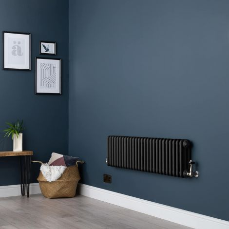 Old Style Low Level Three Column Smooth Matt Black Traditional Radiator - 300mm high x 1194mm wide