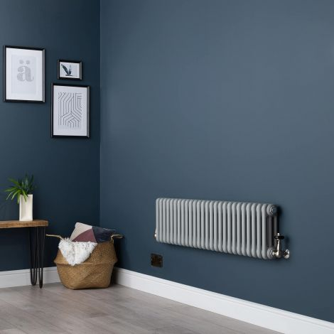 Old Style Light Grey Low Level 3 Column Radiator 300 x 1194mm