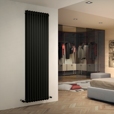 Bespoke Matt Quartz Graphite Black Traditional 3 Column Radiators - Multiple Sizes