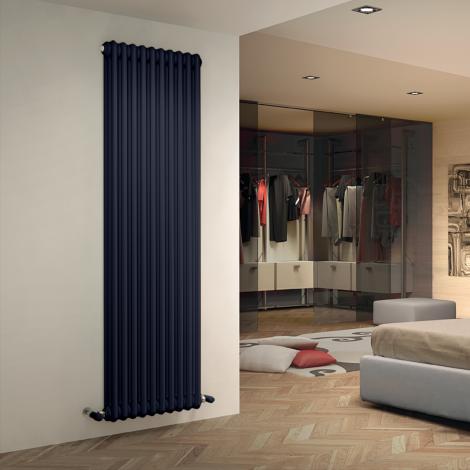 Bespoke Matt Textured Dark Steel Blue Traditional 3 Column Radiators - Multiple Sizes