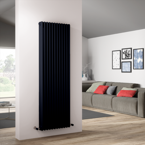 Bespoke Matt Textured Dark Steel Blue Traditional 4 Column Radiators - Multiple Sizes