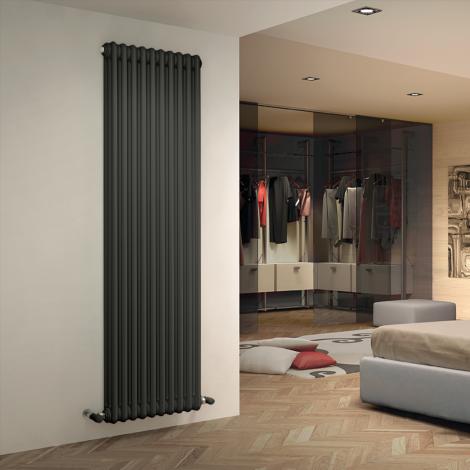 Bespoke Matt Textured Medium Grey Traditional 3 Column Radiators - Multiple Sizes