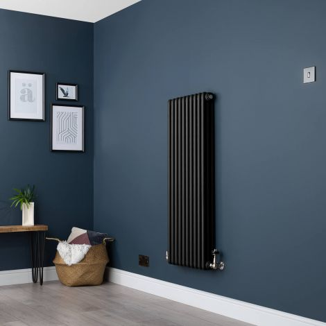 Old Style Vertical Three Column Smooth Matt Black Traditional Radiator - 1200mm high x 474mm wide