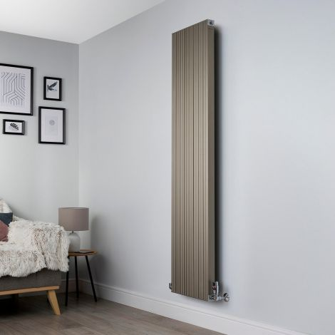 Motif Champagne Gold Vertical Tall Slim Designer Radiator - 1750mm high x 400mm wide,Motif Champagne Gold Designer Radiator - Striations Close up,Motif Champagne Gold Designer Radiator - Flow Valve Close up,Motif Champagne Gold Designer Radiator - Return
