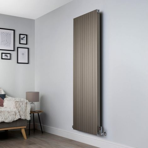 Motif Champagne Gold Vertical Designer Radiator - 1750mm high x 600mm wide,Motif Champagne Gold Designer Radiator - Striations Close up,Motif Champagne Gold Designer Radiator - Flow Valve Close up,Motif Champagne Gold Designer Radiator - Return Valve Clos