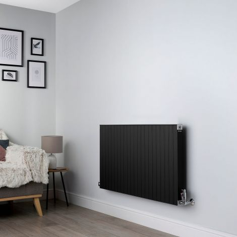 Motif Black Horizontal Designer Radiator - 600mm high x 1100mm wide