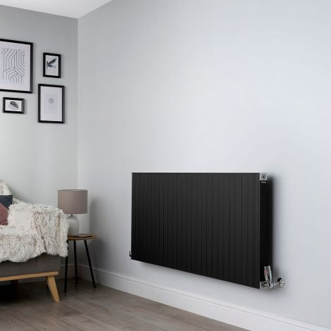 Motif Black High Output Horizontal Designer Radiator - 600mm high x 1300mm wide
