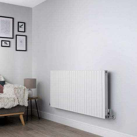 Motif White High Output Horizontal Designer Radiator - 600mm high x 1300mm wide