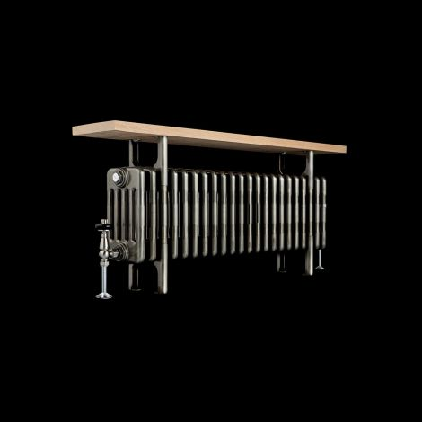 Old Style Raw Metal 5 Column Traditional Radiator with Bench - 525mm high x 1014mm wide