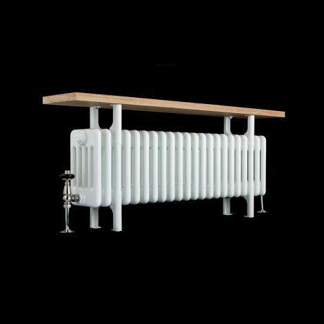 Old Style White Traditional 5 Column Radiator with Bench - 525mm high x 1014mm wide