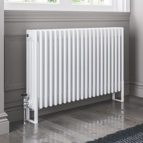 Old Style White Traditional 4 Column Radiators 600mm high - Multiple width options