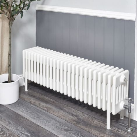 Old Style White Traditional 6 Column Radiators 300mm high - Multiple width options