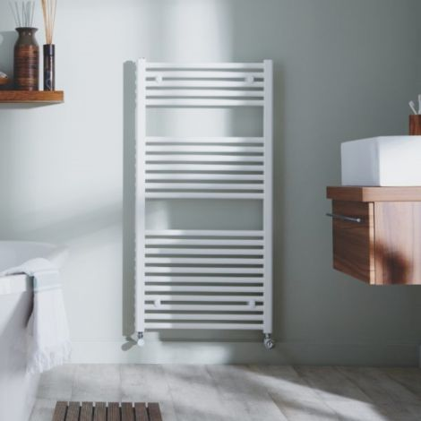Premium White Thermostatic Electric Straight Ladder Tower Rail  - Multiple Size Options